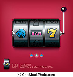 Slot Machine Illustration, Signs, Slider Switch Buttons,...