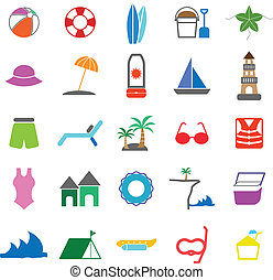 Beach color icons on white background