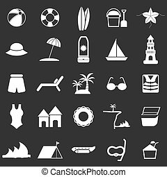 Beach icons on black background, stock vector