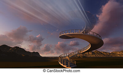 Stairway to heaven made in 3d software