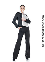 Nice businesswoman standing with white folder Isolated on...
