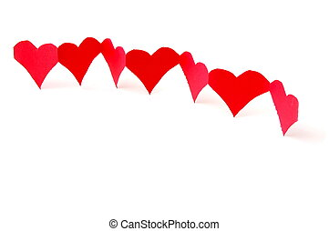 red hearts showing love - isolated red hearts showing a...