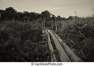 B/W Traditional Wooden Path - Traditional wooden path at the...
