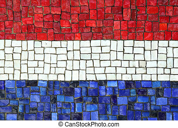 Kingdom of the Netherlands Flag in Mosaic