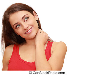 Smiling girl thinking about with copy space isolated on...