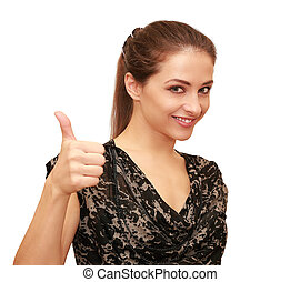 Beautiful happy woman showing thumb up sign isolated on white background