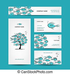 Business cards design, marine theme