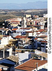 White town, Loja, Andalusia, Spain. - View of the town and...