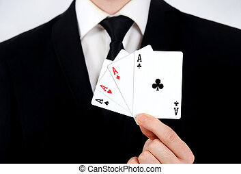 4 aces - Business man showing 4 aces