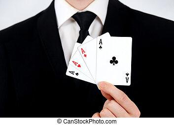 4 aces - Business man showing 4 aces