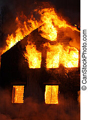 Burning house - An old Wooden house burning