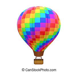 Colorful Hot Air Balloon isolated on white background. 3D...