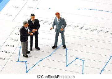 business man over economic chart