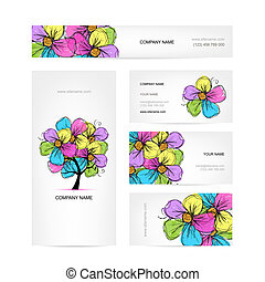 Business cards design with colorful floral tree