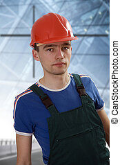 young building worker