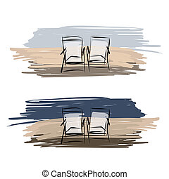 Two deck chairs on the beach, sketch for your design