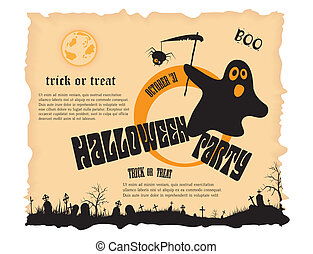 Halloween party poster with message. Vector illustration