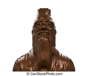 Bronze Statue of Confucius isolated on white background. 3D...