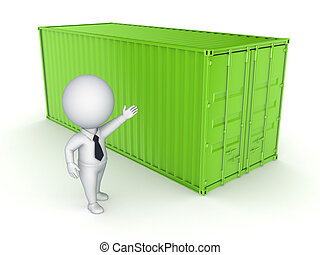 Green container and 3d person.
