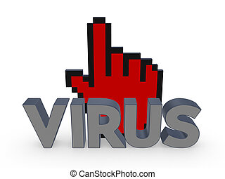 Cursor and word VIRUS.