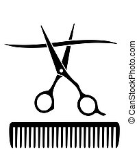 comb and scissors cutting strand - hairdresser comb and...