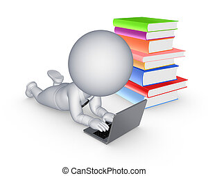 3d small person with notebook and colorful booksIsolated on...