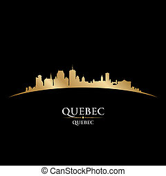 Quebec Canada city skyline silhouette black background -...