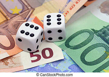 Dices thrown on euro money - Two dices thrown on euro money...