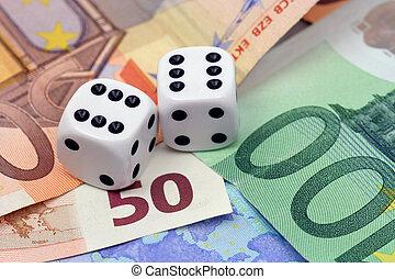 Dices thrown on euro money - Two dices thrown on euro money...