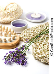 Lavender and spa massage set on white background