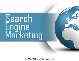 Search Engine Marketing concept with globe on white...