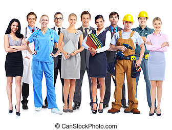 Group of professional workers Isolated white background