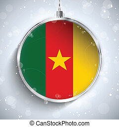 Merry Christmas Silver Ball with Flag Cameroon