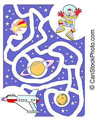 Kids labyrinth: The astronaut and his spaceship - Maze game...