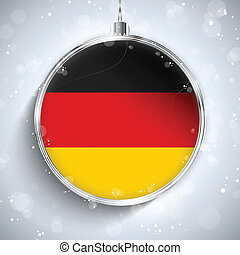 Merry Christmas Silver Ball with Flag Germany