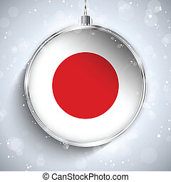Merry Christmas Silver Ball with Flag Japan - Vector - Merry...