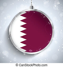 Merry Christmas Silver Ball with Flag Qatar - Vector - Merry...