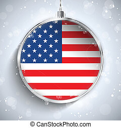 Merry Christmas Silver Ball with Flag USA - Vector - Merry...