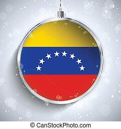 Merry Christmas Silver Ball with Flag Venezuela - Vector -...
