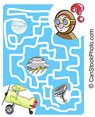 The pilot and his biplane - Maze game for kids: Help the...