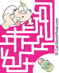 Where is the pacifier - Maze game for kids: Help the baby to...