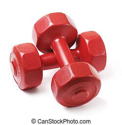 Dumbells - Small red plastic dumbells