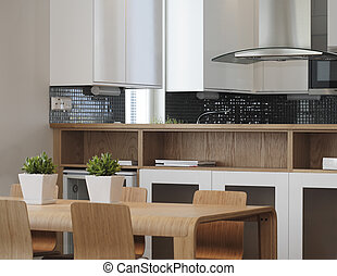 Modern kitchen - Modern european kitchen dining room
