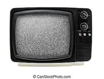 TV - Old 12 black white portable television, dusty and dirty...