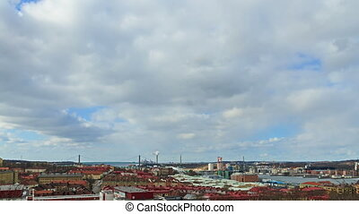 Clouds over the city. Gothenburg, Sweden. Time Lapse