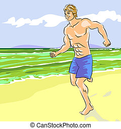 Young man running on the beach - Coloured Illustration of...
