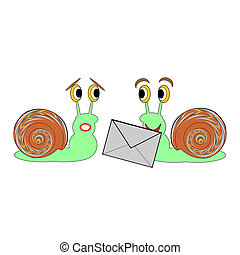 Two funny cartoon snails with a letter. Vector-art...