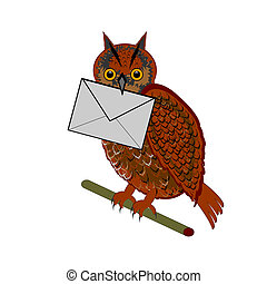 A funny owl with a letter in his beak