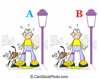 Find the seven differences - dog peeing
