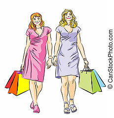 Two Shopping girls - Vector illustration of two girls with...